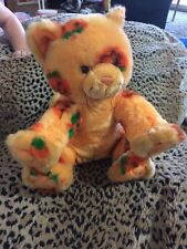 Build a Bear Halloween Pumpkin Orange Kitty Cat Plush Jack O Lantern Print  GUC