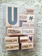 "Stampin' Up ""All ABout U"" 2005 Rubber Stamp Set 12 Love Miss Bless Thank You"