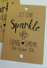 10 x Wedding favour sparkler covers, with added sparkle personalised