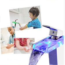 LED Glass Bathroom Waterfall Sink Faucet Single Lever Basin Mixer Water Tap Hot