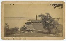 SARATOGA LAKE EARLY PHOTO WITH LADY OF THE LAKE PADDLEWHEEL BOAT