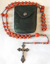 rosary sterling silver, ( large coral beads ) N°14 BIS
