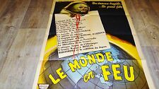 LE MONDE EN FEU  ! rare affiche cinema anticipation 1958