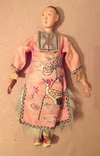 antique articulated CHINESE MANDARIN OPERA puppet DOLL silk embroidered robe