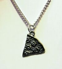 Pizza charm slice pepperoni  pendant necklace silver plated chain 18 inch