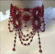 Red Victorian Glass Beaded Choker Necklace Burlesque Belly Dance Costume