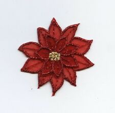 Iron On Embroidered Applique Small Red Poinsettia Christmas Flower