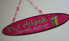 JIMMY BUFFET MARGARITA IT'S 5 O'CLOCK SOMEWHERE PEROT HEAD SIGN FLAMINGO HANGER