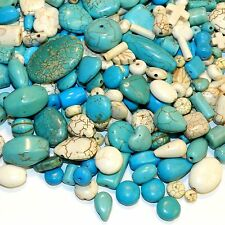 NG2580 Assorted Shape Mix Blue & White Turquoise Magnesite 50-Grams (50 Bead)