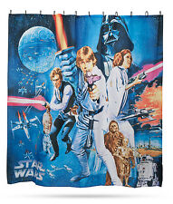 Star Wars NEW HOPE Shower Curtain SET PREMIUM COMPLETE Movie Poster W/ All Rings