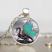 Vintage Dragon Cabochon Tibetan silver Glass Chain Pendant Necklace@4