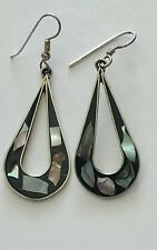 Woman's Vintage Mexico Alpaca Abalone Inlay Dangle Earrings Hook