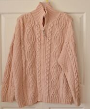 Aran Crafts Women's XL 100% Merino Wool Irish Cardigan Sweater Light Pink