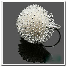 Adjustable silver plated dandelion flower charm ring