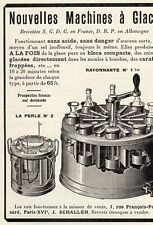 J. SCHALLER MACHINE A GLACE PARIS PUBLICITE PUB 1914 FRENCH AD
