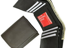 BLACK MENS LEATHER CREDIT CARD HOLDER PLAIN  TRIFOLD WALLET ID CENTER FLAP***
