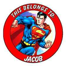 24 Round Personalized SUPERMAN Property Stickers school books NAME TAGS LABELS