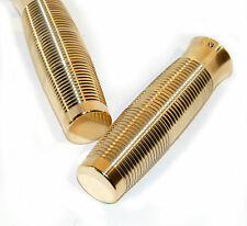 "OLD SCHOOL SOLID BRASS ""BEEHIVE"" 1"" RIBBED GRIPS 1973-2012 HARLEY BOBBER CHOPPER"