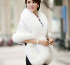 New Noble mink Bridal Wedding Faux Fur Bride Long Shawl Stole Wrap Shrug Scarf