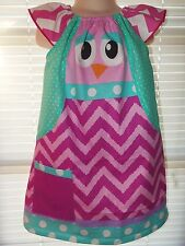 Vintage Fabric OWL  Polka Dots  Back to School Dress - Size 4t