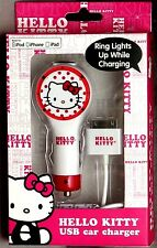 Hello Kitty USB Car Charger Lights Up While Charging Made For iPod/iPhone/iPad