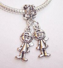 Little Boys Brothers Twins Babies Dangle Bead for Silver European Charm Bracelet