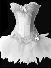 Burlesque Corset & tutu /skirt Fancy dress outfit Halloween Costume - Size 12 UK