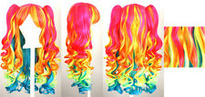 20'' Lolita Wig + 2 Pig Tails Set Neon Rainbow Mix Blend Cosplay Gothic Sweet