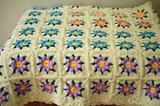 "Handmade Afghan Granny Square 3D Blanket 78"" x 54""  Scalloped Edges"