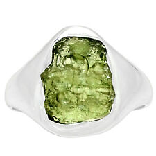 Moldavite Rough 925 Sterling Silver Ring Jewelry S.10 MLDR563 MLDR563