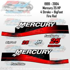 1999-04 Mercury 25 HP 4S Fire Red Big Foot Outboard Repro 9 Pc Decal 4-Stroke