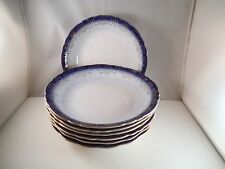 Vintage Sterling Imperial China Flow Blue Set of 7 Coupe Soup Bowls Gold Rim