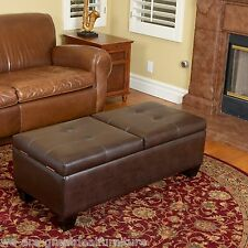 Living Room Furniture Brown Leather Storage Ottoman w/ Double Lid