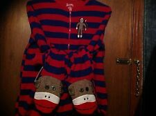 NICK & NORA SOCK MONKEY FOOTED PAJAMAS BLUE RED STRIPE ADULT PJ SZ S SMALL NEW