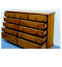 BANKSIA ASSEMBLED TIMBER TALLBOY CHEST OF 1.5m 11 DRAWER IN BLACKWOOD