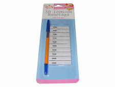 PACK OF 50 IRON ON NAME TAG TAGS LABELS WITH PEN FOR CHILDRENS CLOTHING CLOTHES