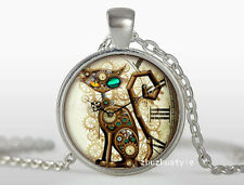 CAT Cabochon Tibetan silver Glass Chain Pendant Necklace D#0261
