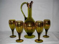 Romania Glass With Gold Bands Wine Brandy Spirit Decanter Set  & 4 Wine Glasses