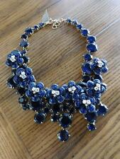 J CREW JEWELED MIDNIGHT FLORAL NECKLACE ITEM #F2782 blue