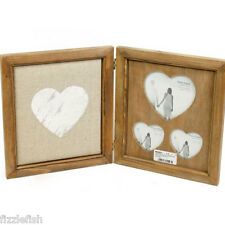 RUSTIC Plain Wood HEART Hinged PHOTO Picture Frame Chic Shabby With PIN BOARD