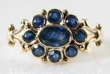 ENGLISH 9K 9CT GOLD VINTAGE INS BLUE SAPPHIRE CLUSTER RING FREE RESIZE