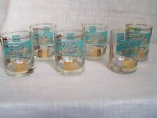 Vintage Federal Southern Comfort Steamship Bar Glasses Teal Gold Set of 6