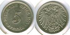 Kaiserreich  5 Pfennig 1901 G  fast stempelglanz