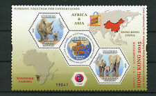 Namibia 2015 MNH Hong Kong Asian Int Stamp Exhibition 2v M/S Rhinos Elephants