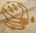 Bollywood Designer Gold Plated Necklace Earrings Set Ethnic Indian Women Jewelry