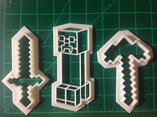 Minecraft Large Sword, Axe, and Creeper outline cookie cutter