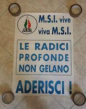 MANIFESTO ORIGINALE POLITICO M.S.I. MISURE CM.50X70