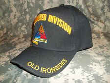U.S. Army 1st Armored Division OLD IRONSIDES Adjustible Velcro Embroidered Hat