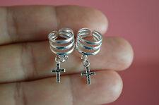 925 Sterling Silver Dangle Religious Cross Ear Cuffs Earrings Jewelry