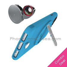 4-in-1 Lens + Blue Case for Apple iPhone 6 & 6s Fisheye+Wide Angle+Macro+More